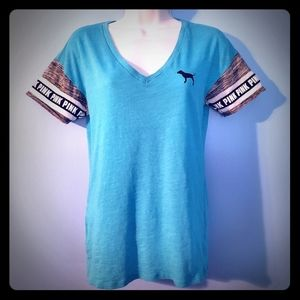 Pink Victoria's Secret blue T shirt